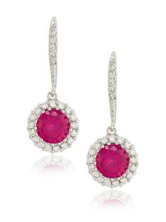CZ by Kenneth Jay Lane Fuschia/Clear Flush Mount Dangle Earrings at MYHABIT
