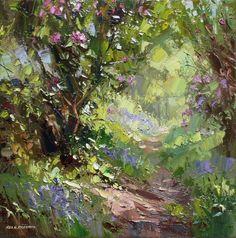 British Artist Rex PRESTON-Dappled Sunlight Bramley Wood
