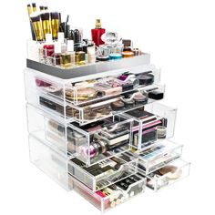 Buy Sorbus Acrylic Cosmetic Makeup and Jewelry Storage Case Display with Silver Trim - Spacious Design - Great for Bathroom, Dresser, Vanity and Countertop (Silver Set Sorbus, Sorbus, Kitchen Younique Mascara, Concealer, Makeup Brush Case, Makeup Storage Organization, Organization Ideas, Bedroom Organization, Storage Ideas, Natural Makeup Tips, Natural Beauty