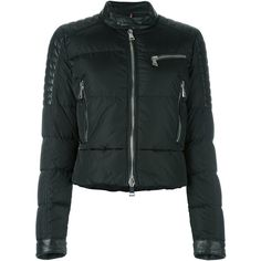 Moncler 'Kerkyra' cropped jacket ($1,685) ❤ liked on Polyvore featuring outerwear, jackets, black, leather jackets, leather straight jacket, moncler, long sleeve crop jacket and zip front jacket
