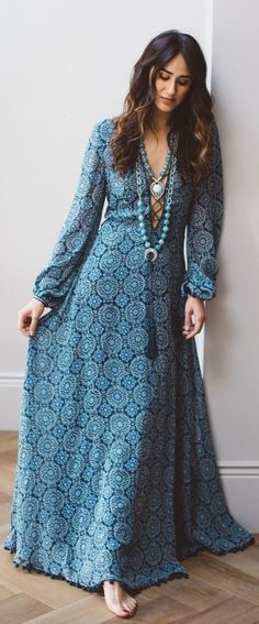 #spring #summer #outfitideas | Boho Print Maxi Dress |