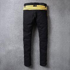 Balplein Brand Mens Jeans Slim Fit Stretch Motor Biker Jeans Men Black Color Yellow Stripe Spliced High Street Fashion Men Jeans