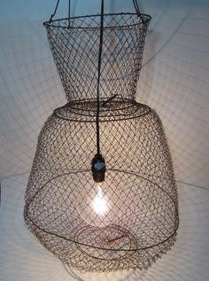 Vintage Industrial Lamp light fishing Crab pot Lobster Trap Wire Basket repurposed. $55.00, via Etsy.