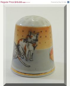 German Vintage Thimble with Cats.