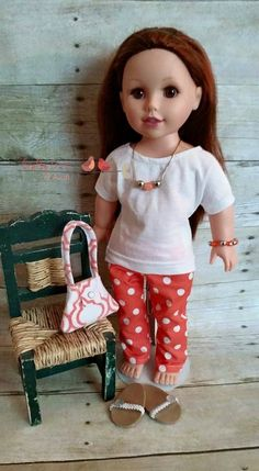 "Doll clothes fit 18"" dolls, doll jeans, maxi skirts, bracelets, rings, purses, flip flops, tote bags, beach bags, picnic baskets, sweaters, poodle skirts and more!"