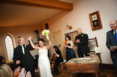 bride and groom at schoolhouse