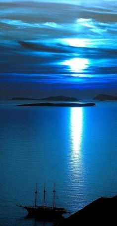 Astypalea, Greece in the moonlight • photo: Anna on Flickr