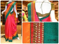 Look gorgeous in this read and green handloom designer saree with attractive borderline.
