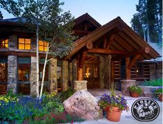 Seriously gorgeous - the logs, the stone, everything!