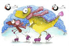 Original watercolor painting Dragon mouse bird crow winter snow pond ice skating #IllustrationArt