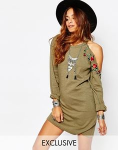 Milk It Vintage Military Dress With Cold Shoulder
