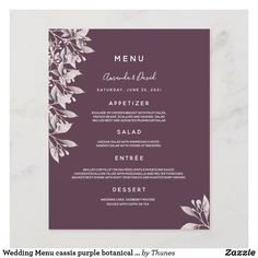 Shop Wedding Menu cassis purple botanical dusty rose created by Thunes. Wedding Menu Cards, Wedding Table Settings, Grilled Beef, Abstract Animals, Candy Jars, Dinner Menu, Personal Photo, Dusty Rose, Deep Purple