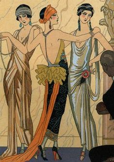 Art Deco influences became popular in the when the geometric lines of many garments can be seen to echo Art Deco style lines. Art Deco fashion can be observed in many fabric prints, embroideries, beaded decorations, and jewelry. Arte Art Deco, Moda Art Deco, Estilo Art Deco, Art Deco Era, 1920s Art Deco, Arte Fashion, Art Deco Fashion, Fashion 1920s, Roaring 20s Fashion