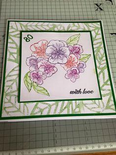 Sheena Douglass Paint Fusion Pansy stamp set, Distress inks