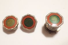 Art Deco CORRECT Snap Apart Green and Brick Red Enamel Cufflinks