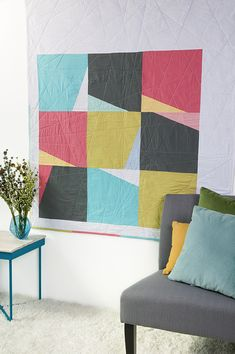 Cool solid quilt from Quilts My Way: Modern Patchwork Winter 2016 Big Block Quilts, Modern Quilt Blocks, Modern Quilt Patterns, Mini Quilts, Modern Quilting Designs, Quilt Inspiration, Quilt Modernen, Contemporary Quilts, Patchwork Quilting