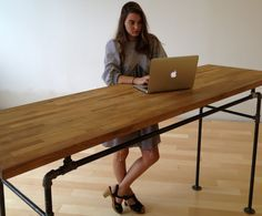 Butcher Block and Steel Pipe Standing Desk. by SoilandOak on Etsy, $500.00
