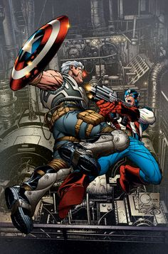 Cable vs. Captain America by Joe Quesada