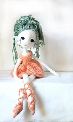 Meadow the Dancing Elf - handmade OOAK  plush dress-up doll with crochet bamboo yarn dress and shoes on Etsy, $84.00