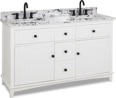 double White vanity with Matte Black hardware, contemporary Shaker style, hidden tipout storage space, and preassembled White and Black Engineered Marble top and 2 rectangular bowls. Drawer Fronts, Matte Black Hardware, Vanity, White Vanity, Cabinet Boxes, White, Diy Vanity, Adjustable Shelving, Shaker Style