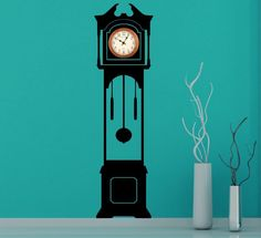 Large Grandfather Clock Silhouette Wall Sticker Clock Background 180cm 71""