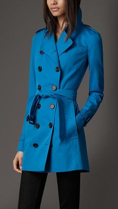 Burberry London Short Cotton Gabardine Trench Coat