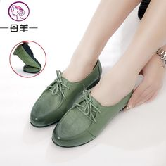 5ee5a035db401 MUYANG MIE MIE Scarpe basse in vera pelle donna moda Vintage Lace-Up morbido  confortevole