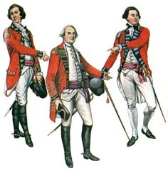 """""""British Staff Officers"""" from John Mollo and Malcolm McGregor's Uniforms of the American Revolution."""