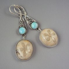 Sand dollar and opal earrings. danaevans68
