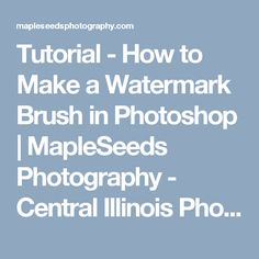 Tutorial - How to Make a Watermark Brush in Photoshop | MapleSeeds Photography - Central Illinois Photographer