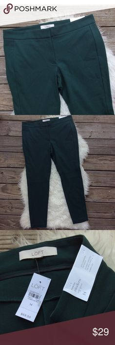 "LOFT Modern Marisa Skinny Pants New with tags LOFT Modern Marisa Pants with stretch. Size 14. Sits lower on waist, slimmer through hip and thigh & skinny leg. Dark forest green. Waistband 37"", hips 42"", rise 10"", inseam 28"". Hook and zipper closure. No trades, offers welcome. LOFT Pants Skinny"