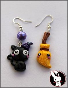 Cat and Broom earrings / Clay