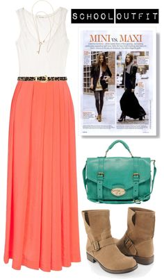 Maxi-skirt Outfit for School, created by fashionjunkie100 on Polyvore