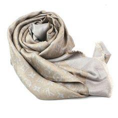 louis vuitton beige square Monogram cotton Scarves