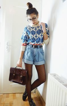 high waisted jean shorts and patterned knit - brown shatchel bag