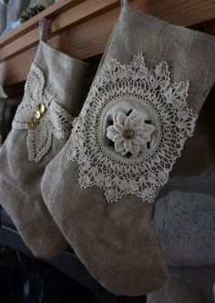 White felt poinsettia flower! (Stockings with burlap and lace)