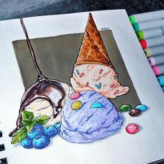 4th theme of our sweetest challenge - ice cream #скетчмарафон_сладкий_ноябрь ---------------------- рисовала это буйство цвета и вкуса я где-то около 1-1,5 часа, маркеры Sketchmarker, линер copic 0.3 и белая ручка sakura. #by4erta