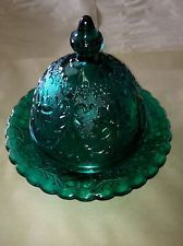 I love the little covered plates!  Teal Depression Glass... very pretty color