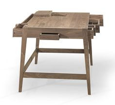 WEWOOD BS01 Desk in walnut for ultimate office organisation. Its solid wood construction uses no screws or nails