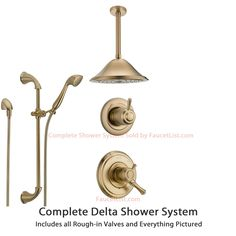 delta cassidy champagne bronze shower system with dual control shower handle 3setting diverter - Delta Cassidy
