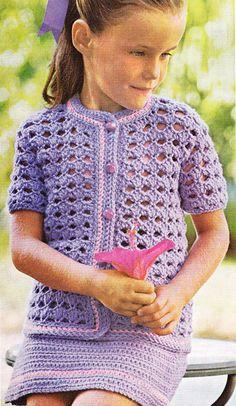 Vintage Crochet Pattern Lil Girl Violet Spring by LittleGalsStudio, $2.60