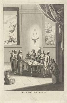 Philip van Gunst | Viering van Pesach, Philip van Gunst, 1685 - 1725 | Een joods gezin viert Pesach aan de eettafel. Op tafel staat een schotel met het paaslam en verschillende soorten voedsel die een symbolische betekenis hebben, zoals mierikswortel en peterselie. Het gezin staat rond de tafel en vertelt het verhaal van de vlucht uit Egypte. Uit een van de ramen een landschap met een tuin. Het andere raam kijkt uit op een voorstelling van een engel met een zwaard die drie mannen aanvalt…