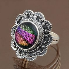 EXOTIC 925 STERLING SILVER DICHORIC GLASS RING 5.59g DJR7636 SZ-7 #Handmade #Ring