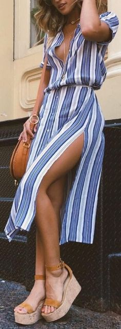 #summer #fashion / striped slit dress