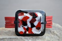 Big Red leather bracelet and fused glass women by MelisaCreation