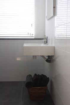LOVE large subway tile for guest bath.....contemporary bathroom by Holly Marder