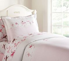 POTTERY-BARN-KIDS-LUCY-RINGMASTER-TWIN-DUVET-SHEETS-NEW-HORSE-BALLET-PINK-4pc