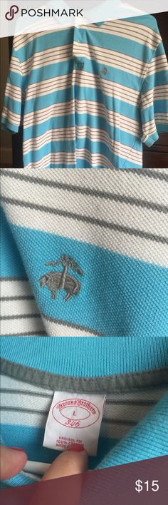Brooks brother golf polo Blue and white brooks brothers polo. Great color! Only worn once. Smoke free home. brooks brothers Shirts Polos