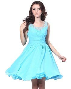 Vintage Chiffon Blue A-line Prom Dress SD0200052