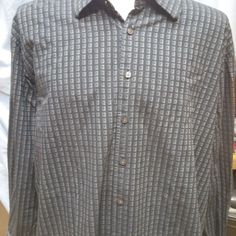 SYNRGY Mens 3XL Casual Shirt L/S Button Front Blk/Blue/Grey French Cuff Button #Synergy #ButtonFront